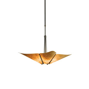 Kirigami Black 23.5-Inch Four-Light Pendant with Cork Shade