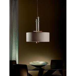 Ondrian Dark Smoke Two-Light Pendant with Eclipse Micro-Suede Drum Shade