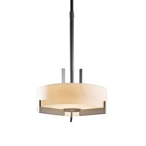 Axis Burnished Steel 19.5-Inch Three-Light Pendant with Stone Glass