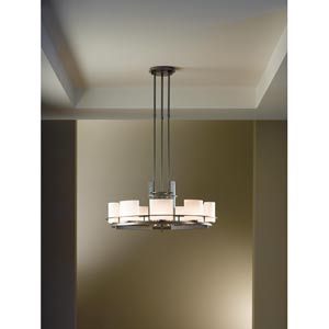 Ellipse Circular Burnished Steel Nine-Light Chandelier