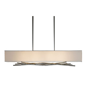 Brindille Burnished Steel 42-Inch Four-Light Pendant with Natural Anna Shade