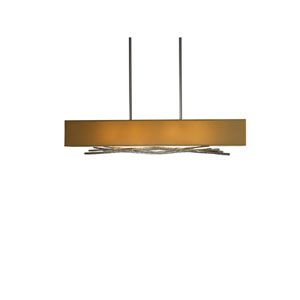 Brindille Burnished Steel 42-Inch Four-Light Pendant with Doeskin Suede Shade