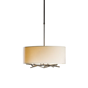 Brindille Natural Iron 22-Inch Three-Light Pendant with Flax Shade