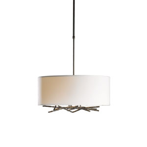 Brindille Burnished Steel 22-Inch Three-Light Pendant with Natural Anna Shade