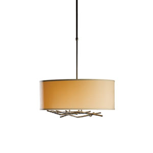 Brindille Mahogany 22-Inch Three-Light Pendant with Doeskin Suede Shade