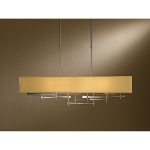 Cavaletti Burnished Steel 42-Inch Four-Light Pendant with Doeskin Suede Shade