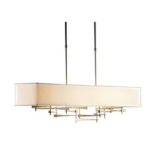 Cavaletti Burnished Steel 42-Inch Four-Light Pendant with Flax Shade