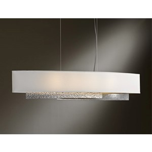 Oceanus Vintage Platinum Four-Light Linear Pendant with Natural Anna Shade