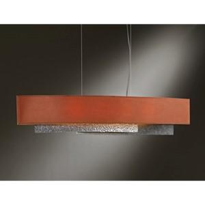 Oceanus Vintage Platinum Four-Light Linear Pendant with Terra Suede Shade