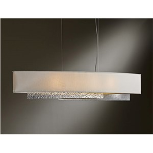 Oceanus Vintage Platinum Four-Light Linear Pendant with Flax Shade