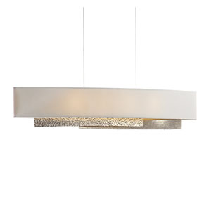 Oceanus Soft Gold Four-Light Linear Pendant with Flax Shade