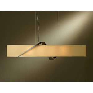 Stream Bronze Four-Light Linear Pendant with Doeskin Suede Shade