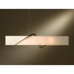 Stream Bronze Four-Light Linear Pendant with Flax Shade