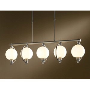 Pluto Burnished Steel Five-Light Linear Pendant with Opal Glass