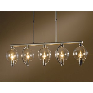 Pluto Burnished Steel Five-Light Linear Pendant with Clear Glass