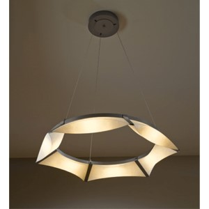 Bento Burnished Steel LED Pendant with Spun Frost Shade