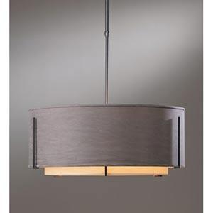 Exos Double Shade Natural Iron Large Three-Light Pendant