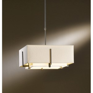 Exos Dark Smoke Two-Light Small Drum Pendant with Natural Anna and Linen Shade