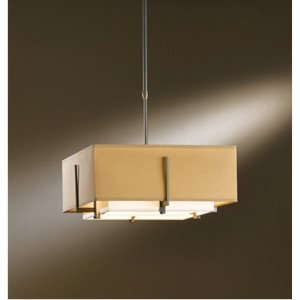 Exos Dark Smoke Two-Light Small Drum Pendant with Natural Anna and Doeskin Suede Shade