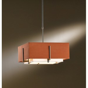 Exos Dark Smoke Two-Light Small Drum Pendant with Natural Anna and Terra Suede Shade