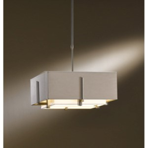 Exos Dark Smoke Two-Light Small Drum Pendant with Natural Anna and Eclipse Shade
