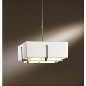 Exos Dark Smoke Two-Light Small Drum Pendant with Natural Anna Shade