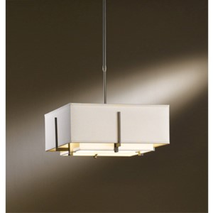 Exos Dark Smoke Two-Light Small Drum Pendant with Natural Anna and Flax Shade