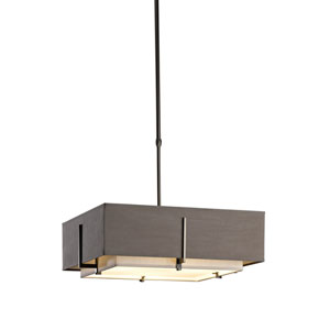 Exos Dark Smoke 20.5-Inch Four-Light Pendant with Flax and Eclipse Shade