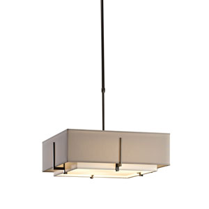 Exos Dark Smoke 20.5-Inch Four-Light Pendant with Natural Anna and Flax Shade
