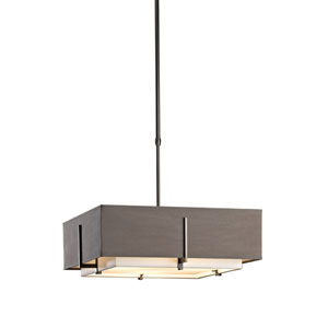 Exos Dark Smoke 20.5-Inch Four-Light Pendant with Natural Anna and Eclipse Shade