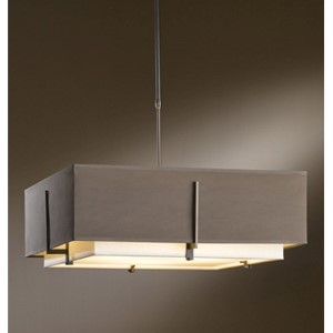 Exos Dark Smoke Four-Light Large Drum Pendant with Natural Anna and Eclipse Shade
