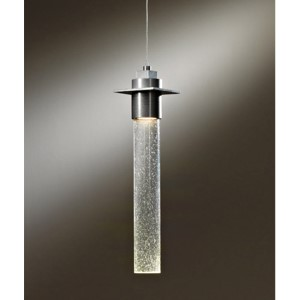 Airis Vintage Platinum One-Light Small Mini-Pendant with Seeded Clear Glass