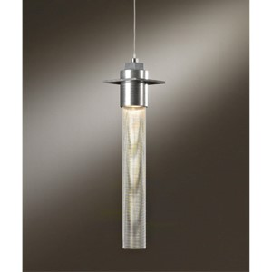 Airis Vintage Platinum One-Light Small Mini-Pendant with Stainless Steel Mesh Tube Glass