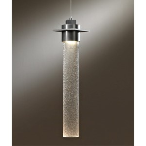 Airis Vintage Platinum One-Light Medium Mini-Pendant with Seeded Clear Glass