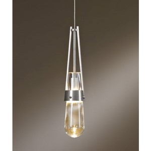 Link Vintage Platinum One-Light Mini-Pendant with Clear Glass