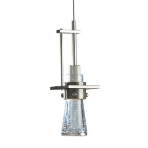 Erlenmeyer Vintage Platinum One-Light Pendant with Blue Steel Bubble Glass
