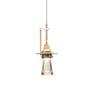 Erlenmeyer Soft Gold One-Light Low Voltage Mini Pendant with Clear Glass