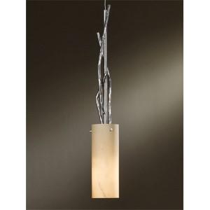 Brindille Vintage Platinum One-Light Mini-Pendant with Stone Glass