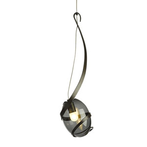 Pinot Dark Smoke One-Light 6-Inch Mini Pendant with Cool Grey Glass
