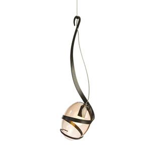 Pinot Dark Smoke One-Light 6-Inch Mini Pendant with Rose Glass
