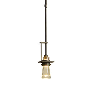 Erlenmeyer Dark Smoke One-Light 3-Inch Mini Pendant with Clear Glass