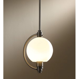 Pluto Dark Smoke One-Light 44-Inch High Mini Kitchen Pendant with Opal Glass