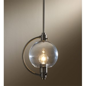 Pluto Dark Smoke One-Light 44-Inch High Mini Kitchen Pendant with Clear Glass