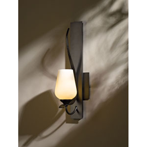 Flora Dark Smoke One Light Wall Sconce with Pearl Glass