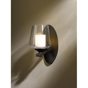 Ribbon Bronze One-Light Sconce with Clear Glass with Opal Diffuser