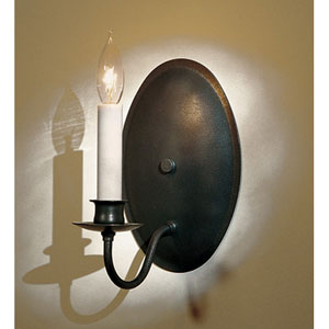 Simple Lines Natural Iron One Light Wall Sconce with Oval Backplate