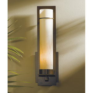 New Town Dark Smoke One Light Wall Sconce with Stone Glass