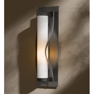 Dune Burnished Steel One Light Wall Sconce with Opal Glass
