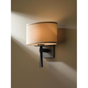 Beacon Hall Burnished Steel One-Light Sconce with Doeskin Micro-Suede Oval Drum Shade