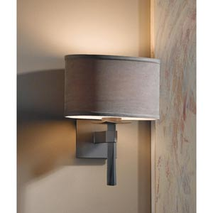 Beacon Hall Burnished Steel One-Light Sconce with Eclipse Micro-Suede Oval Drum Shade